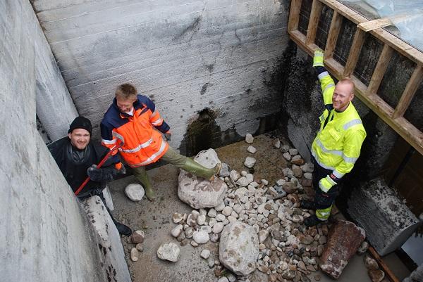 Omgjøring av laksetrapp til hartrapp ved Høyegga i Glomma. Foto: Jon Museth