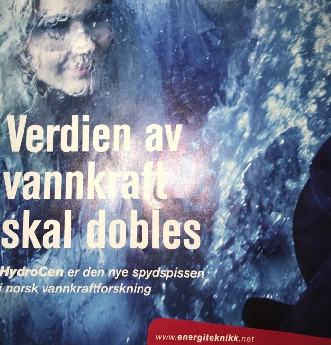 Bilag om vannkraftforskning og HydroCen i siste nummer av Fagbladet Energiteknikk 2-2017.